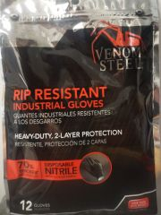 Venom Steel Rip Resistant Nitrile Industrial Gloves, One Size, Powder Free, Ambidextrous, Disposable, 12 Pack