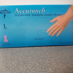 Medline Accutouch Powder Free Synthetic Exam Gloves, Large, Powder Free, Ambidextrous, Disposable, Box of 100