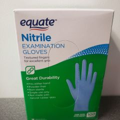 Equate Nitrile Exam Gloves, One Size, Powder Free, Ambidextrous, Disposable, Non Rubber Latex, Box of 100