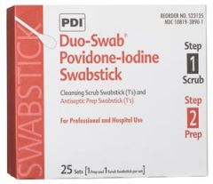 PDI PVP IODINE SWABSTICK Duo-Swabs®, 1 PVP Iodine Scrub & 1 PVP Iodine Prep Swab in a Connected Packet, 2/pk, 25 pk/bx, 10 bx/cs (52 cs/plt) (US Only)