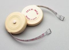 "TECH-MED TAPE MEASURE Tape Measure, 72""L, ¼""W, Linen-Like Fiberglass, White Plastic Case, Push Button to Retract Tape, English Scale, Reverse Side Metric, 6/bx"