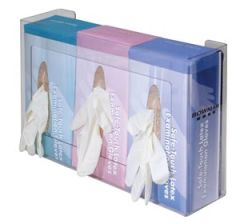 """BOWMAN TRIPLE GLOVE DISPENSERS Glove Box Dispenser, Triple, Holds Three Boxes of Gloves, Two-Way Keyholes For Vertical or Horizontal Wall Mounting, Clear PETG Plastic, 15 13/16""""W x 10""""H x 3 13/16""""D, 6/cs (Made in USA)"""
