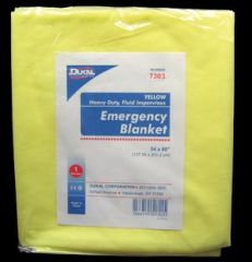 "DUKAL EMERGENCY BLANKETS Emergency Blanket, 54 x 80"", Yellow, Heavy Duty Fluid Impervious, 1/bg, 50 bg/cs"