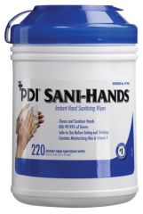 """PDI SANI-HANDS® INSTANT HAND SANITIZING WIPES Instant Hand Sanitizing Wipe, Large, 6"""" x 7½"""", 220/can, 6 can/cs (50 cs/plt) (US Only) (Item is considered HAZMAT and cannot ship via Air or to AK, GU, HI, PR, VI)"""
