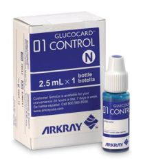 ARKRAY GLUCOCARD® 01 METER Control Solution, 1 Bottle Normal, 1 Bottle High, CLIA Waived (Minimum Expiry Lead is 90 days)