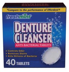 NEW WORLD IMPORTS FRESHMINT® DENTURE TABLETS Denture Cleanser Tablets, Blue, Compared to the Performance of Efferdent®, 40/bx, 24 bx/cs (75 cs/plt) (Made in USA)