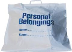 """NEW WORLD IMPORTS PERSONAL BELONGINGS BAG Belongings Bag with Handle, 18½"""" x 20"""", White Bag with Blue Imprint, 250/cs"""