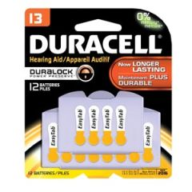 Duracell® Hearing Aid Battery Battery, Zinc Air, Size 13, 12pk, 6 pk/bx, 4 bx/cs (UPC# 82848)