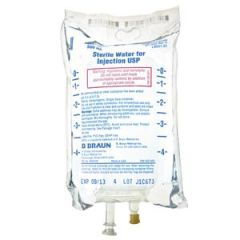 B Braun Sterile Water Injections 500mL Sterile Water, EXCEL® (Rx), 24/cs (48 cs/plt)