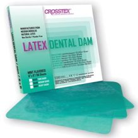 "CROSSTEX DENTAL DAMS Dental Dam, Heavy, Green,  6"" x 6"", Mint, 36 sheets/bx"