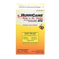 BEUTLICH HURRICAINE® TOPICAL ANESTHETIC SNAP -N- GO™ SWABS Snap -n- Go™ Swab, Individually Wrapped, Unit Dose, 72/bx