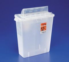"Cardinal Health In Room Containers With Always Open Lids Sharps Container, Always-Open Lid, 12 Qt, Clear, 16¼""H x 6""D x 13¾""W, 10/cs (18 cs/plt) (Continental US Only) (To Be DISCONTNUED)"