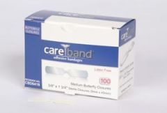 "ASO CAREBAND™ BUTTERFLY CLOSURE BANDAGES Butterfly Closures, Medium 1 3/8"" x 1/3"", Latex Free (LF), 100/bx, 12 bx/cs"