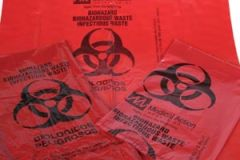 "MEDEGEN BIOHAZARDOUS WASTE BAGS Infectious Waste Bag, 25"" x 34"" Red, F-Code Series: Pass the ASTMD1922-67, 480 Gram Elmendorf Test, 1.2 mil, 50/bx, 4 bx/cs"
