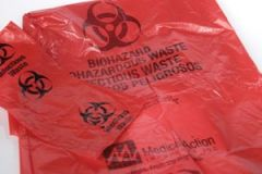 "MEDEGEN INFECTIOUS WASTE BAGS Waste Bag, 23"" x 23"" Red, F-Code Series: Pass the ASTMD1922-67, 480 Gram Elmendorf Test, 1.2 mil, 7-10 gal, 100/bx, 4 bx/cs"