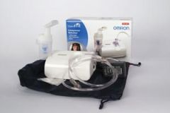 OMRON COMP-AIR® XLT COMPRESSOR NEBULIZER Virtual Valve Technology (VVT) Nebulizer Kit, Mouthpiece, Tubing, AC Adapter, Carry Bag & Filters