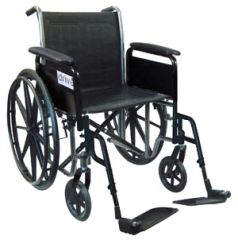"DRIVE MEDICAL WHEELCHAIR Wheelchair, 18"" Fixed Arm & Swing Away Footrest"
