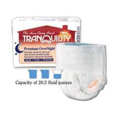 "PRINCIPLE BUSINESS TRANQUILITY® PREMIUM OVERNIGHT™ DISPOSABLE ABSORBENT UNDERWEAR Underwear, Small Overnight DAU, 22""-36"", 80-125 lbs, Capacity 20.3 fl oz, 20/pk, 4 pk/cs"