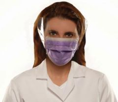 Richmond Earloop Face Masks Earloop Face Mask, Anti-Fluid, Anti-Fog with Shield, Lavender, 25/bx, 4 bx/cs