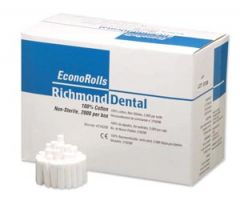 "Richmond Economy Cotton Rolls Economy Cotton Roll, Medium 1½"" x 3/8"" Dia, Non-Sterile, 2000/bx"