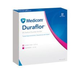 MEDICOM DURAFLOR 5% SODIUM FLUORIDE VARNISH Sodium Fluoride Varnish, Raspberry, 0.4mL Unit Dose, 32/bx (Not Available for sale into Canada)
