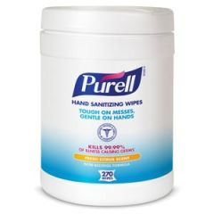 """GOJO PURELL® SANITIZING HAND WIPES Durable Textured Wipes For Superior Cleaning, Non Linting, 270 ct Popup Canister, Wiper Size 6"""" x 6¾"""", Tested & Approved For Hands, Not Approved For Use as a Surface Disinfectant, 6 can/cs (60 cs/plt)"""