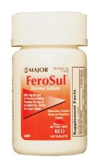MAJOR IRON SUPPLEMENT Ferosul, 5gr, Film Coated, Red Tablets, 100s, Compare to Feosol®, NDC# 00904-7590-60