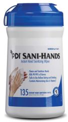 """PDI SANI-HANDS® INSTANT HAND SANITIZING WIPES Instant Hand Sanitizing Wipe, Medium, 6"""" x 7½"""", 135/can, 12 can/cs (40 cs/plt) (026575) (US Only)"""