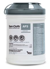 "PDI SANI-CLOTH® AF3 GERMICIDAL DISPOSABLE WIPE AF3 Germicidal Disposable Wipe, Large, 6"" x 6¾"", 160/canister, 12 can/cs (30 cs/plt) (091237) (US Only)"